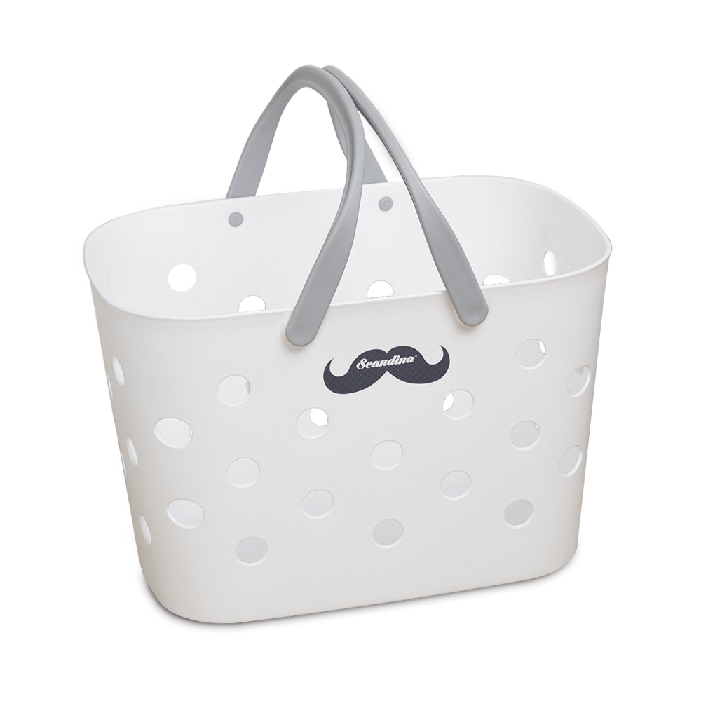 韩国原产SCANDINA提手式浴室收纳篮衣物篮M号 白色 M