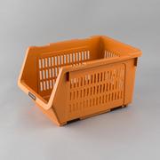 日本原产inomata带滚轮可叠加蔬菜水果收纳篮储物框 橙色