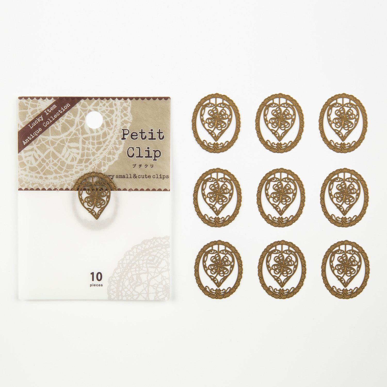 日本原产Petit Clip不锈钢幸运四叶草书夹纪念10枚1包装 金黄