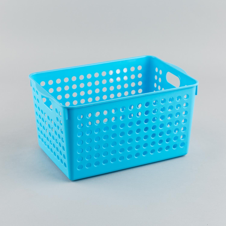 日本原产inomata厨房收纳篮桌面置物篮整理篮储物篮深型 蓝色