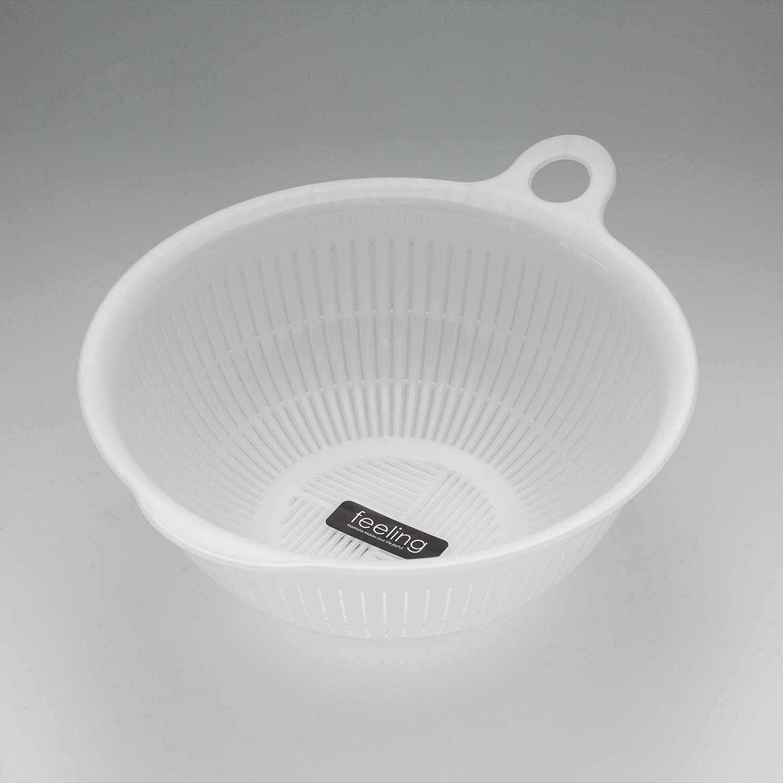日本原产inomata塑料洗菜蓝沥水篮厨房淘米盆家用篮子淘菜盆 白色