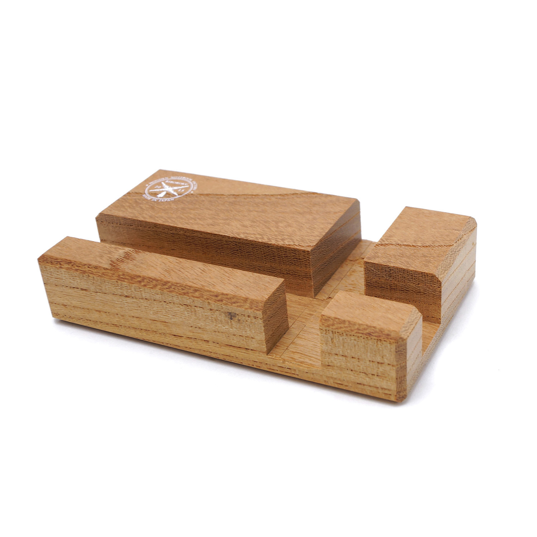 日本原产BIBOROKU榉木双向智能手机底座手机支架手机座 胡桃木色