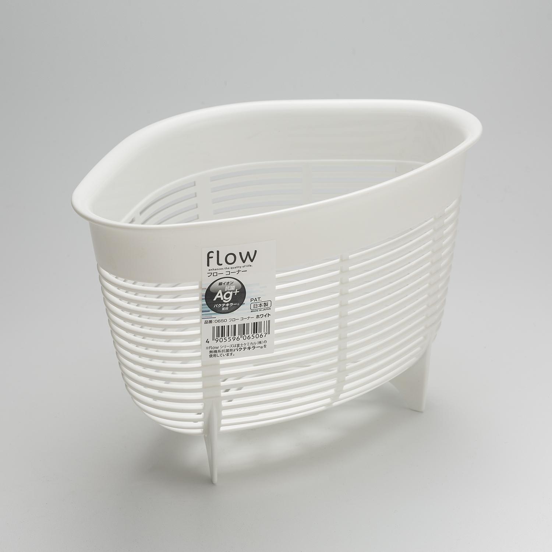 日本原产inomata塑料水槽果皮蓝水槽垃圾桶立式三角清洁架 白色