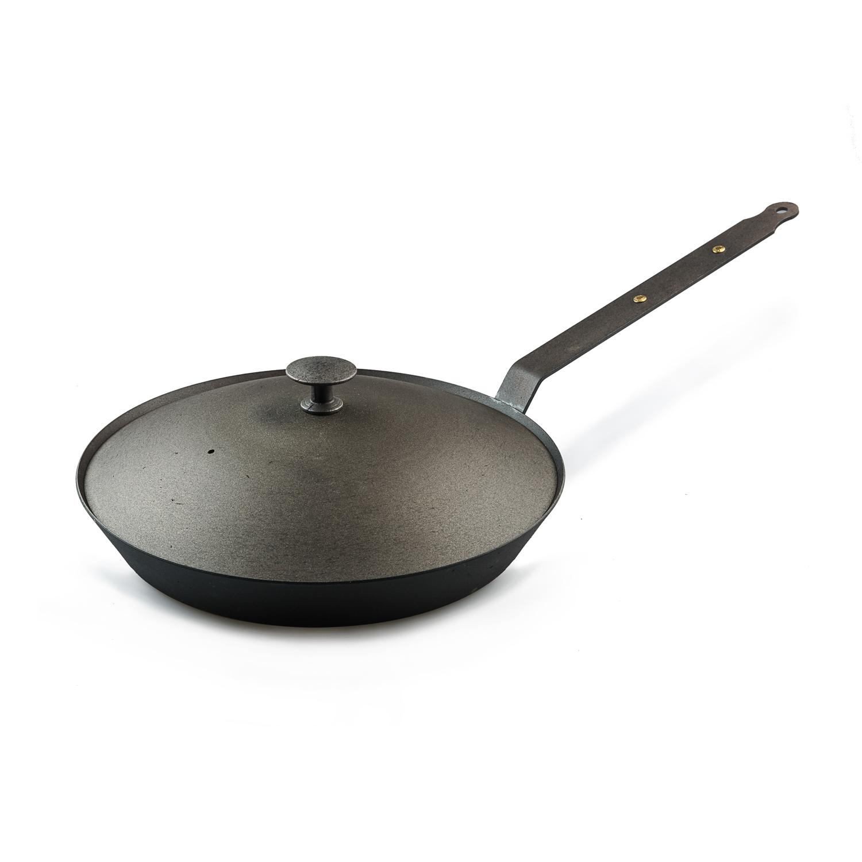 英国原产Netherton手工铸铁煎炒锅26cm铸铁柄带锅盖 黑色