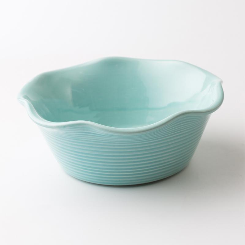 瑞典原产gerbera design手工波纹碗沙拉碗双皮奶碗 蓝绿