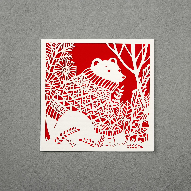 英国原产Chau Art穿毛衣的北极熊主题贺卡明信片创意贺卡 大红