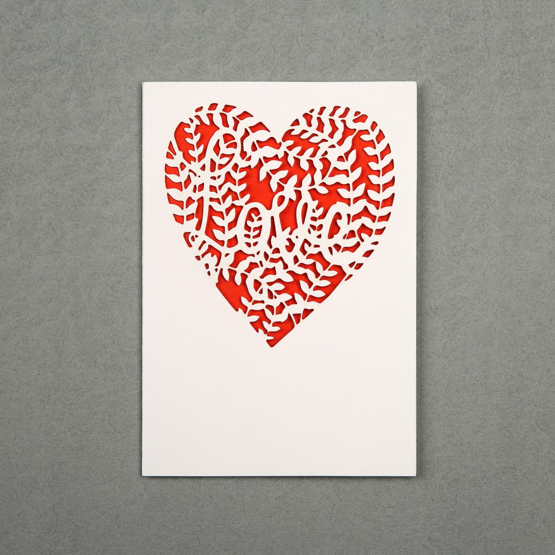 英国原产Chau Art爱心主题贺卡明信片创意贺卡 大红