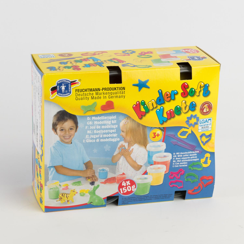 德国原产FEUCHTMANN儿童四色橡皮泥彩泥套装(内含模具) 彩色