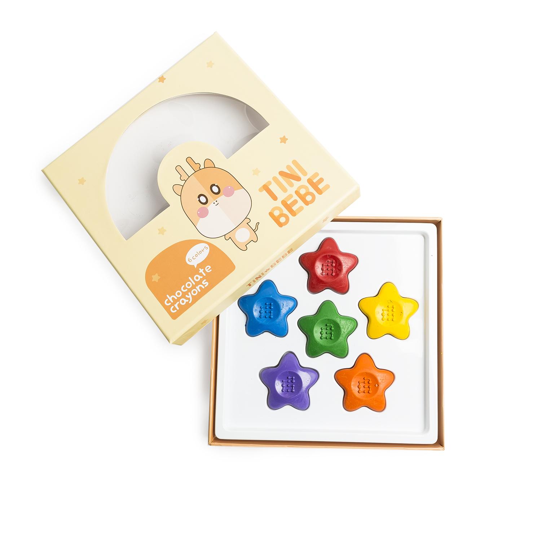 韩国原产Goeunbit巧克力蜡笔画笔涂鸦笔 星星6色礼盒装
