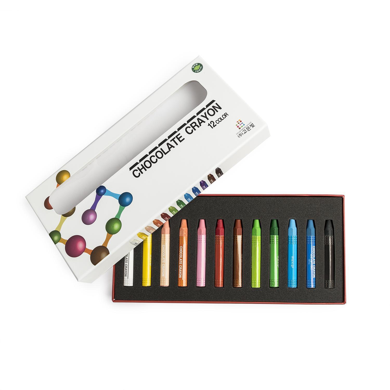 韩国原产Goeunbit巧克力蜡笔画笔涂鸦笔 12色礼盒装
