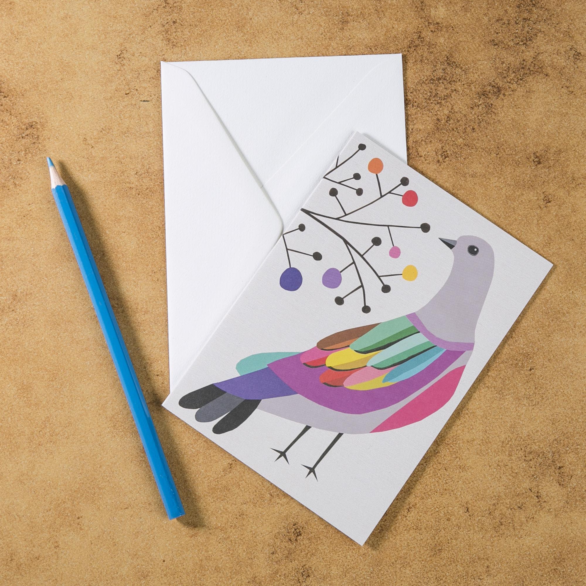 新西兰原产Tikitibu 彩色鸠贺卡明信片创意生日贺卡 彩色