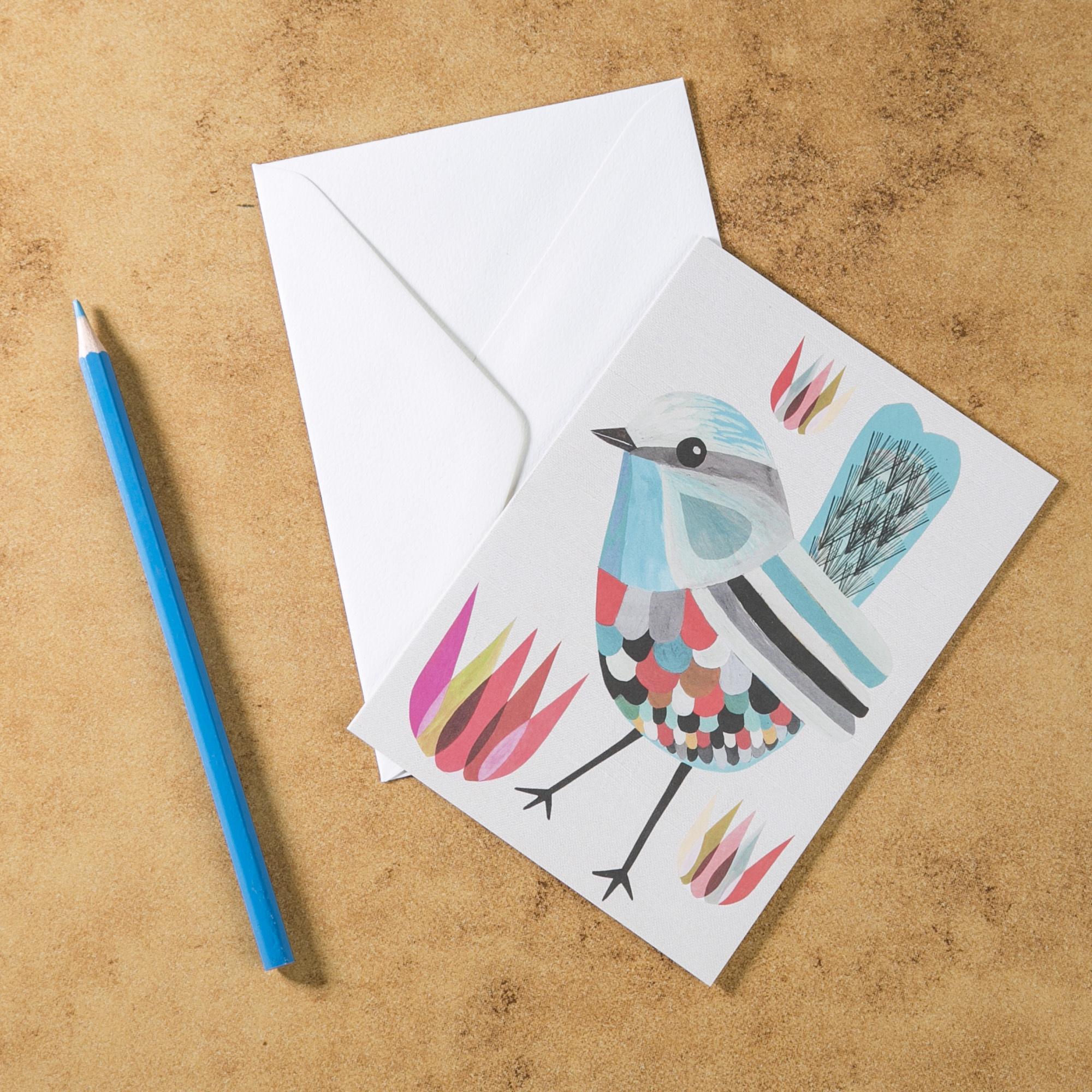 新西兰原产Tikitibu 锦绣童话鹪鹩 贺卡明信片创意生日贺卡 彩色
