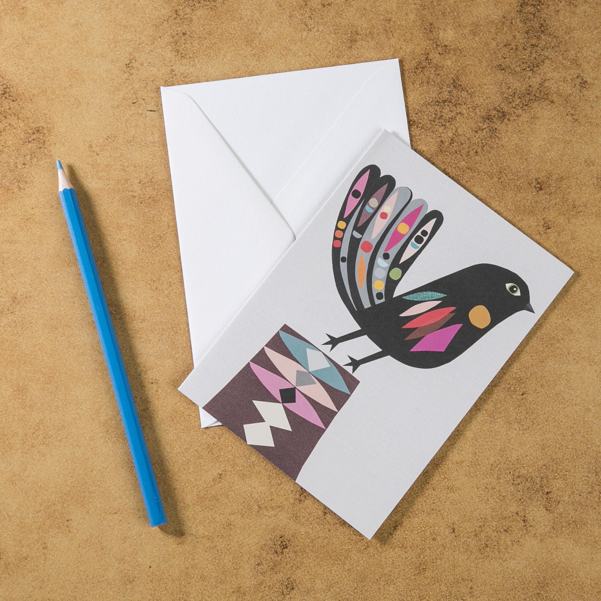 新西兰原产Tikitibu 小扇尾 贺卡明信片创意生日贺卡 彩色