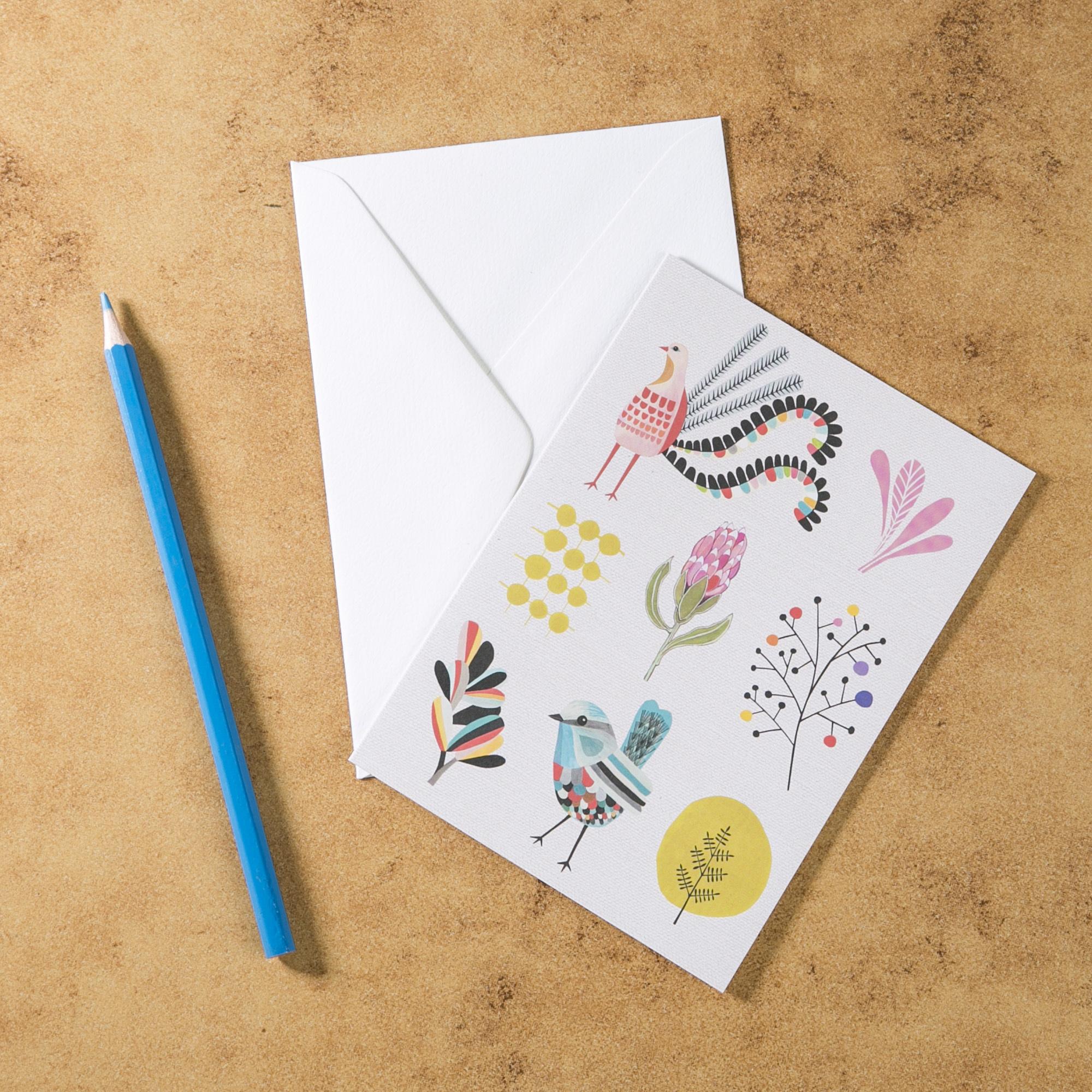 新西兰原产Tikitibu 花园派对 贺卡明信片创意生日贺卡 彩色