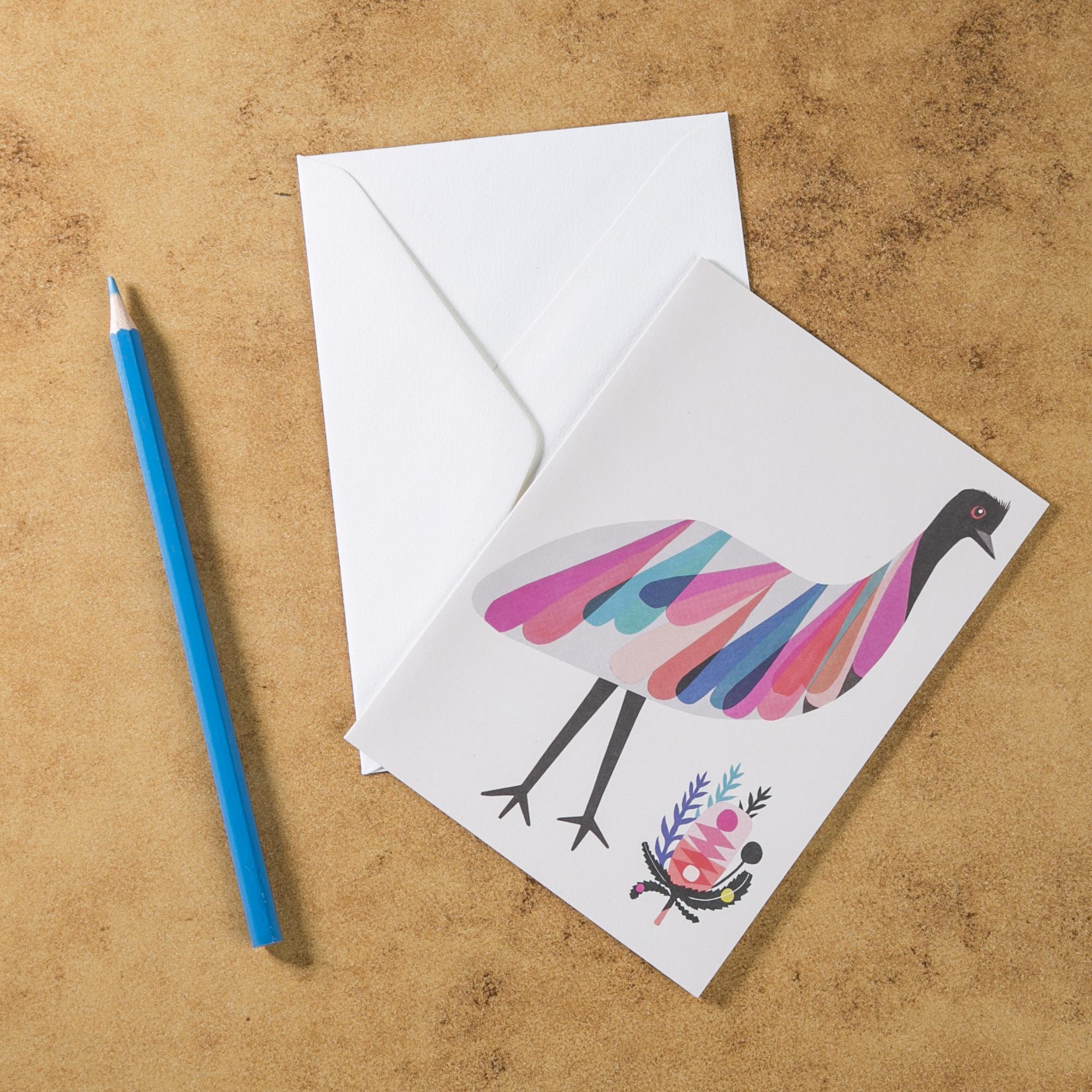 新西兰原产Tikitibu 袋鼠岛鸸鹋 贺卡明信片创意生日贺卡 彩色