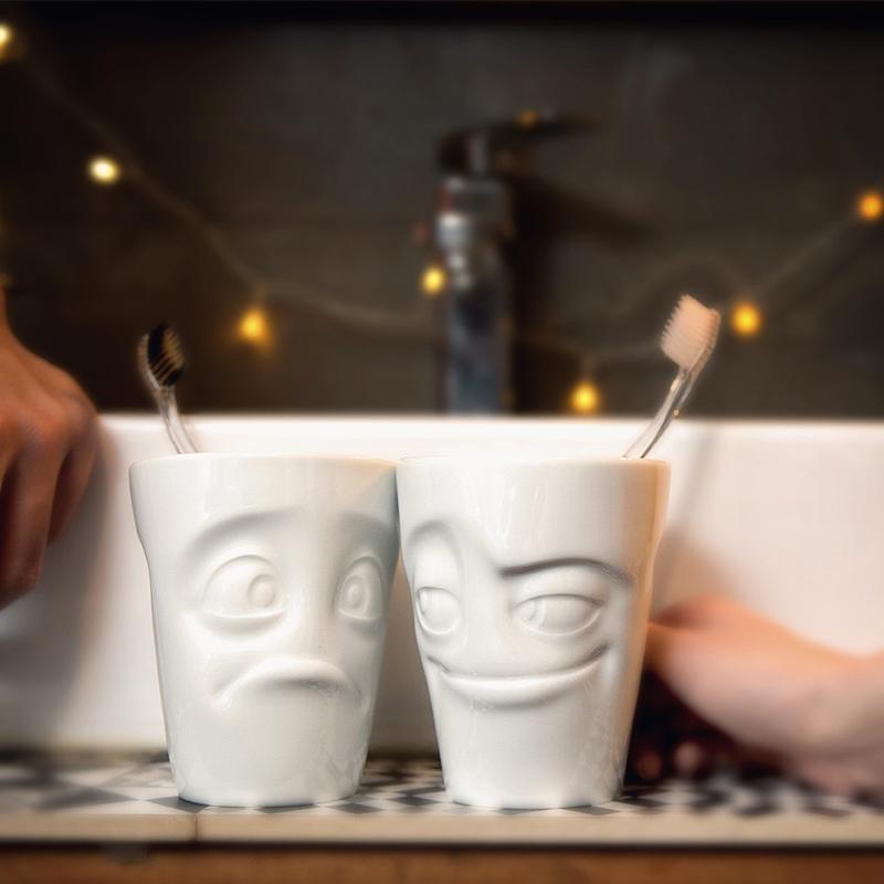 """德国原产Fiftyeight Tassen陶瓷卡通表情杯茶杯350ml """"为难"""" 白色"""