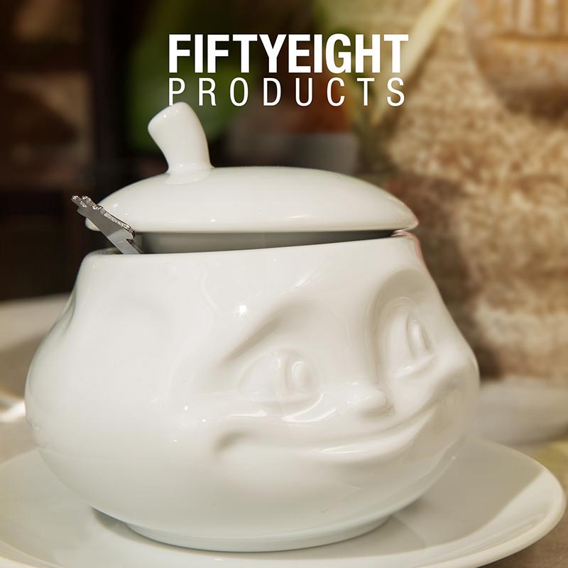 """德国原产Fiftyeight Tassen陶瓷卡通糖罐奶罐盐罐 """"甜蜜"""" 白色"""