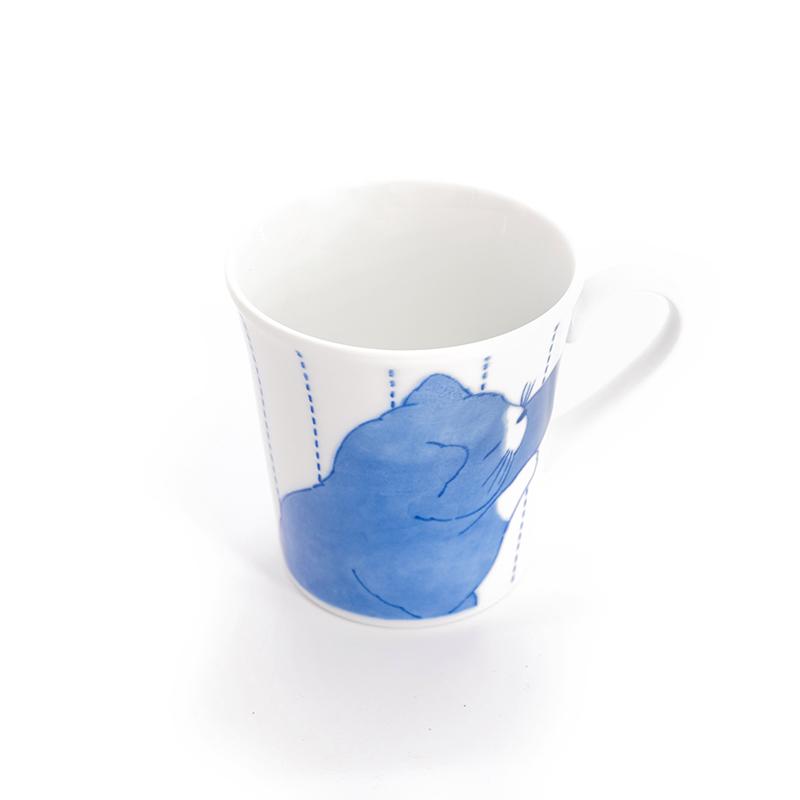 日本原产ceramic 蓝水杯马克杯亲密猫系列 蓝色