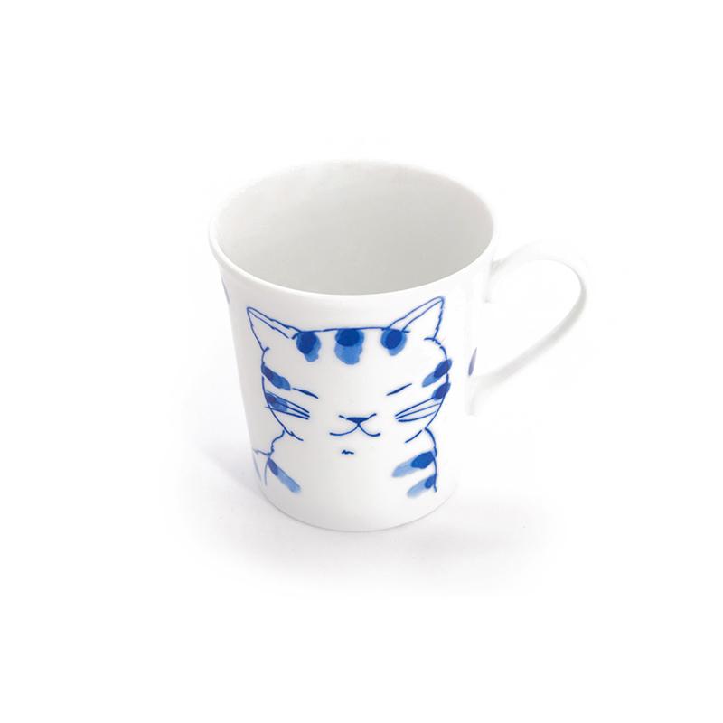 日本原产ceramic 蓝水杯马克杯亲密猫系列 白色