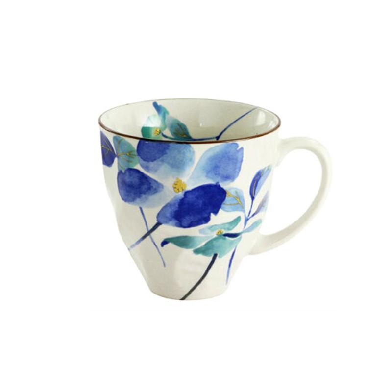 日本原产ceramic 蓝花语系列马克杯水杯 花水木