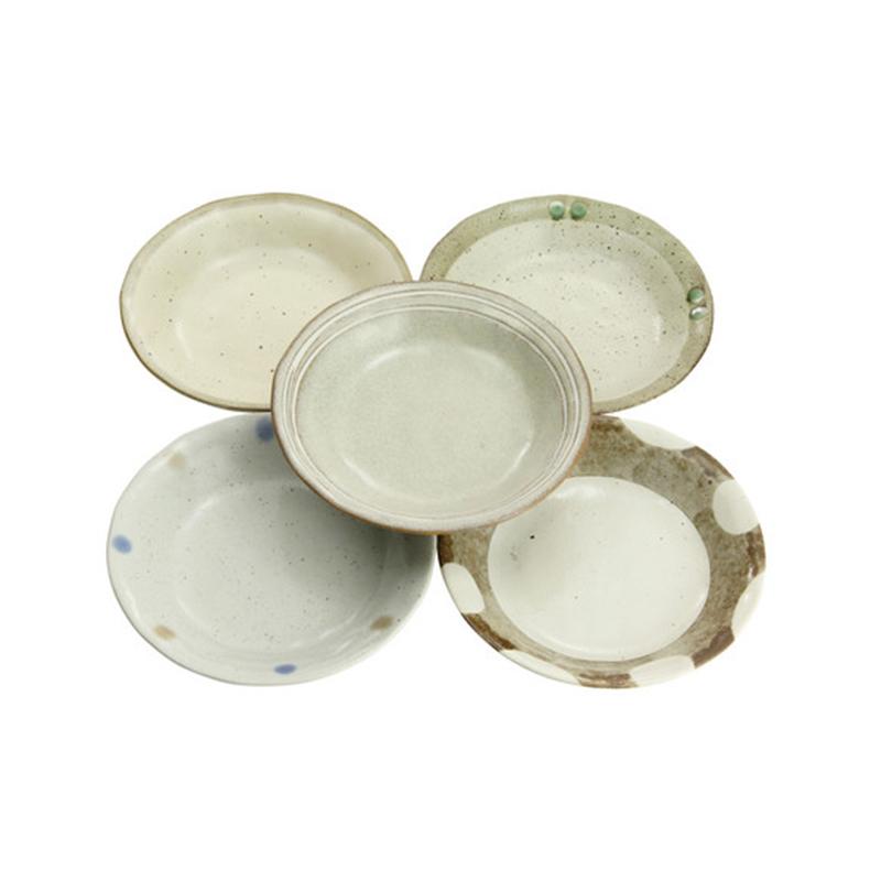 日本原产ceramic 蓝森林系列餐盘套装餐盘5件套 米白色
