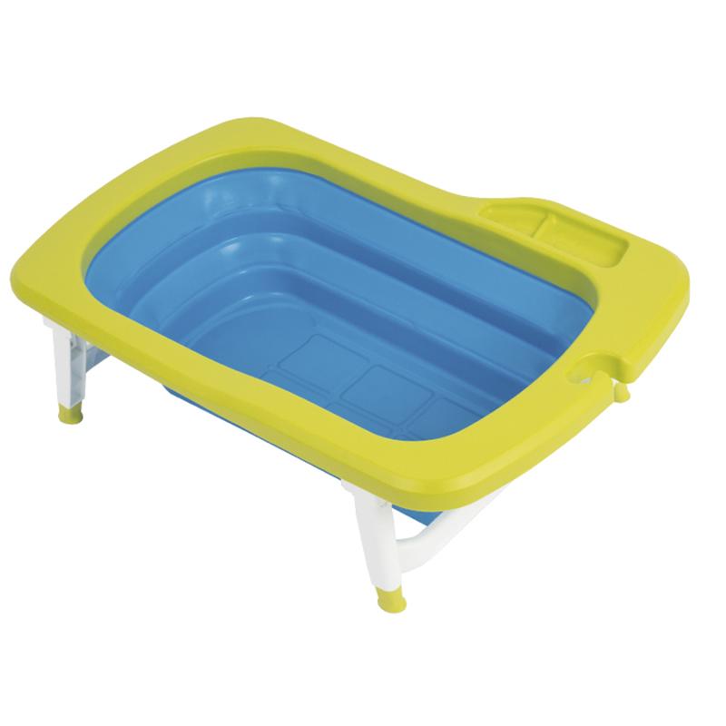 韩国原产Mathos Loreley婴儿浴盆澡盆便携感温可折叠浴盆 绿色