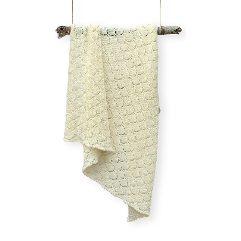 新西兰原产CRIA皇室蕾丝美利奴羊毛毯儿童盖毯 浅黄