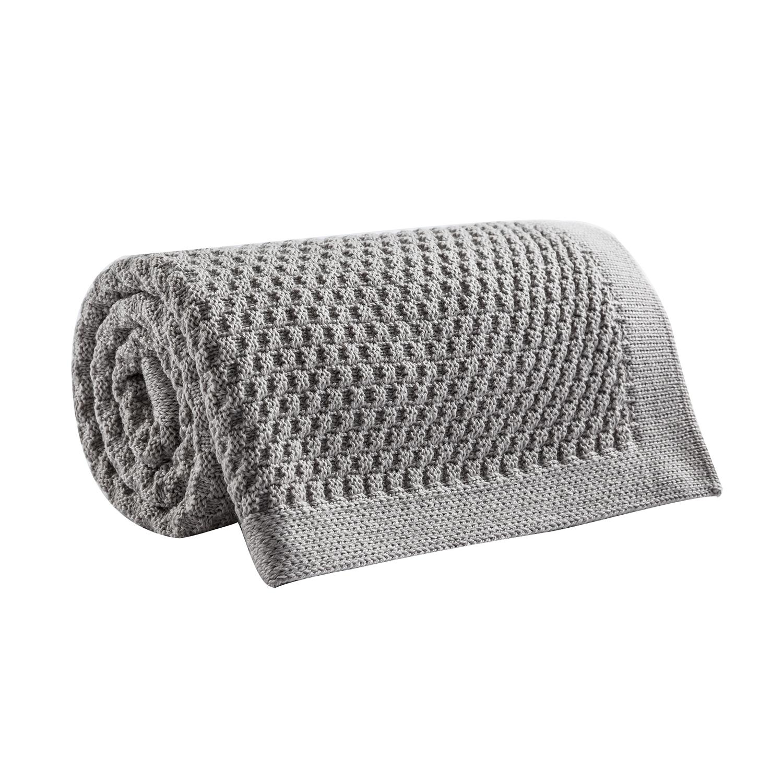 新西兰原产CRIA美丽奴羊毛针织婴儿毯羊毛盖毯灰色 灰色