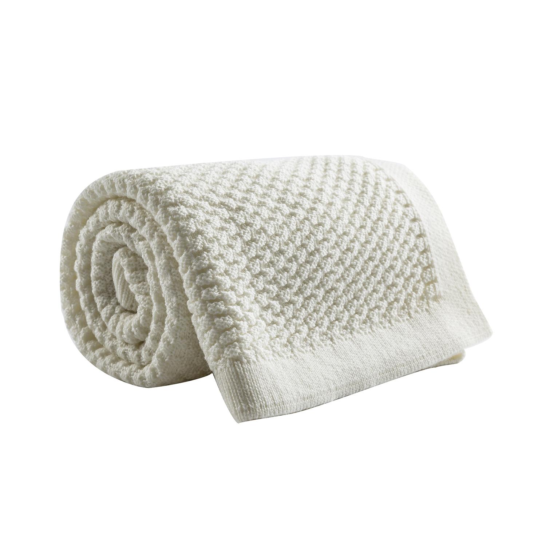 新西兰原产CRIA美丽奴羊毛针织婴儿毯羊毛盖毯白色 白色