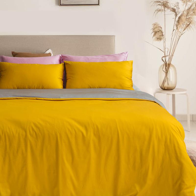 新西兰CRIA 60支长绒棉贡缎双面拼色四件套(黄色+灰色) 黄灰 S