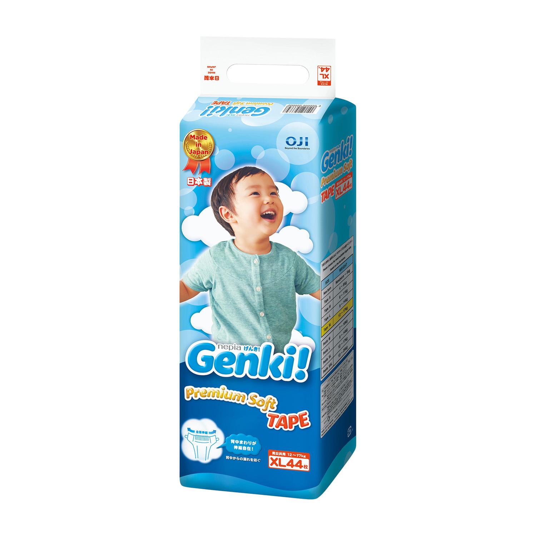 日本原产nepia妮飘 Genki!婴儿宝宝纸尿裤尿不湿XL码44片 蓝色 12kg-17kg
