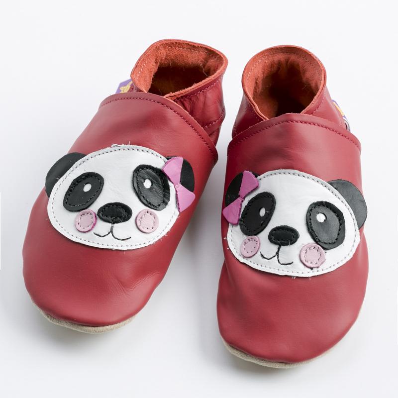 英国原产Starchild牛皮婴幼儿学步鞋软底鞋  熊猫 红色 M
