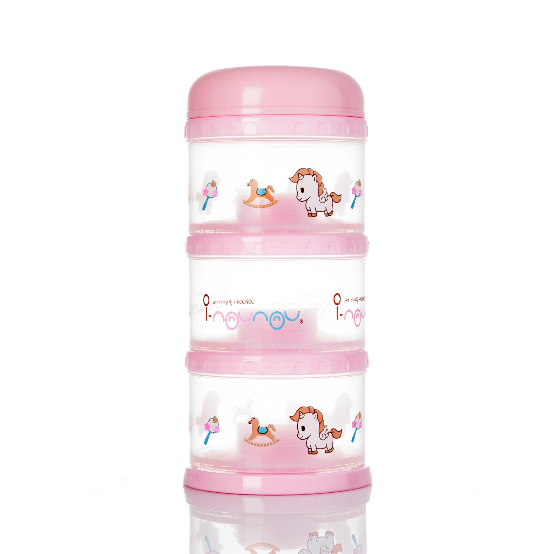 韩国原产i-Nounou三层奶粉储存盒 粉色