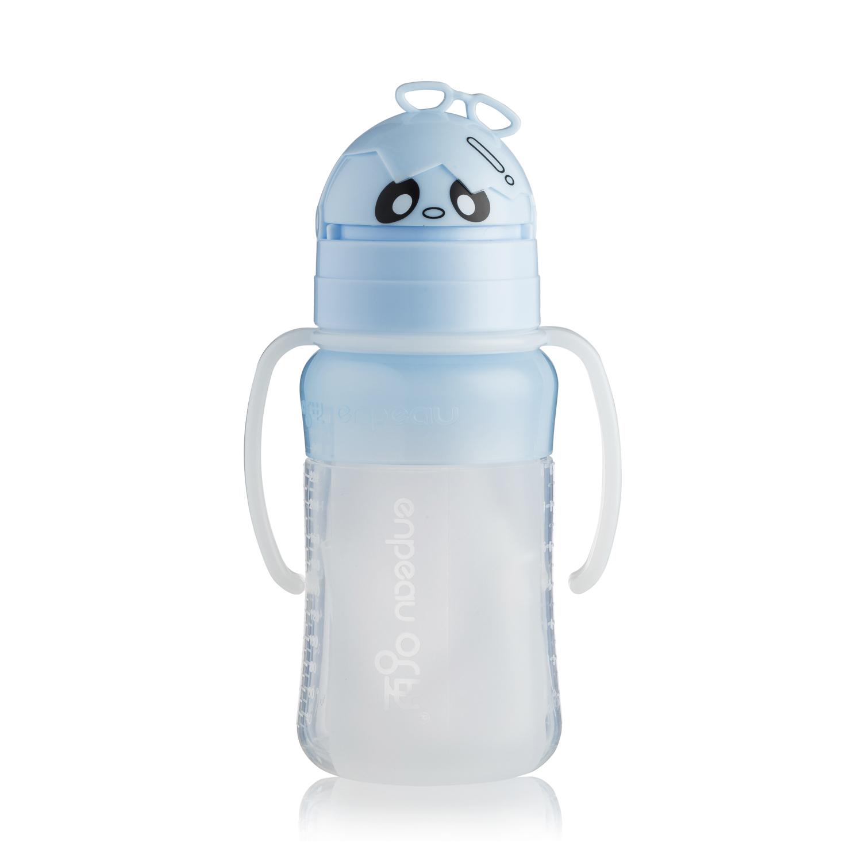 韩国原产enpeau硅胶吸管水杯儿童水杯宝宝吸管杯260ML 蓝色