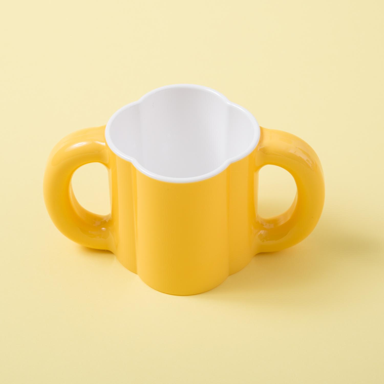 韩国原产deeuno健康儿童双耳杯宝宝杯水杯 黄色