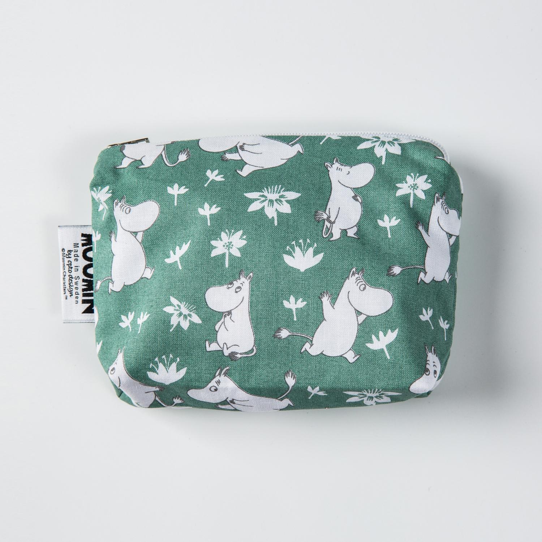 瑞典原产Optodesign 姆明系列纯棉化妆包收纳包迷你包 绿灰