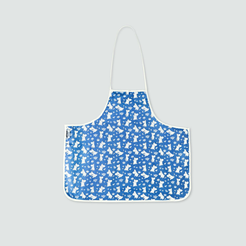 瑞典原产Optodesign 姆明系列儿童纯棉防污围裙 蓝色