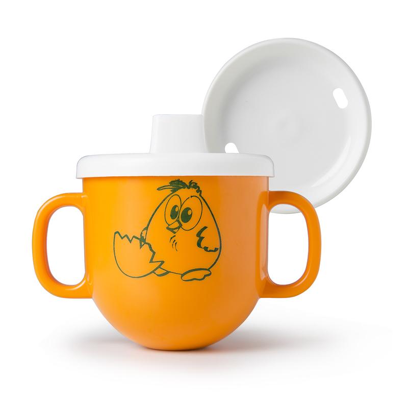 意大利Cosmoplast儿童双手柄不倒水杯宝宝水杯有盖带礼品包装 橙色