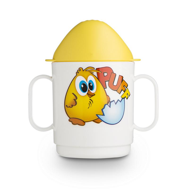 意大利原产Cosmoplast儿童卡通水杯宝宝练习水杯有盖 黄色