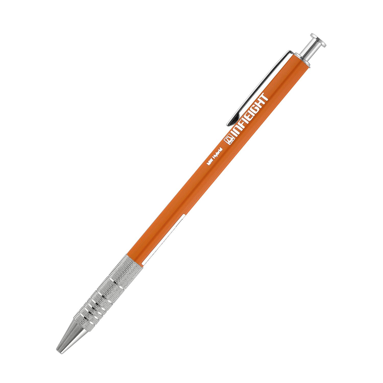 日本原产INFIEIGHT创意金属拉花木质圆珠笔中性笔长款 橙色