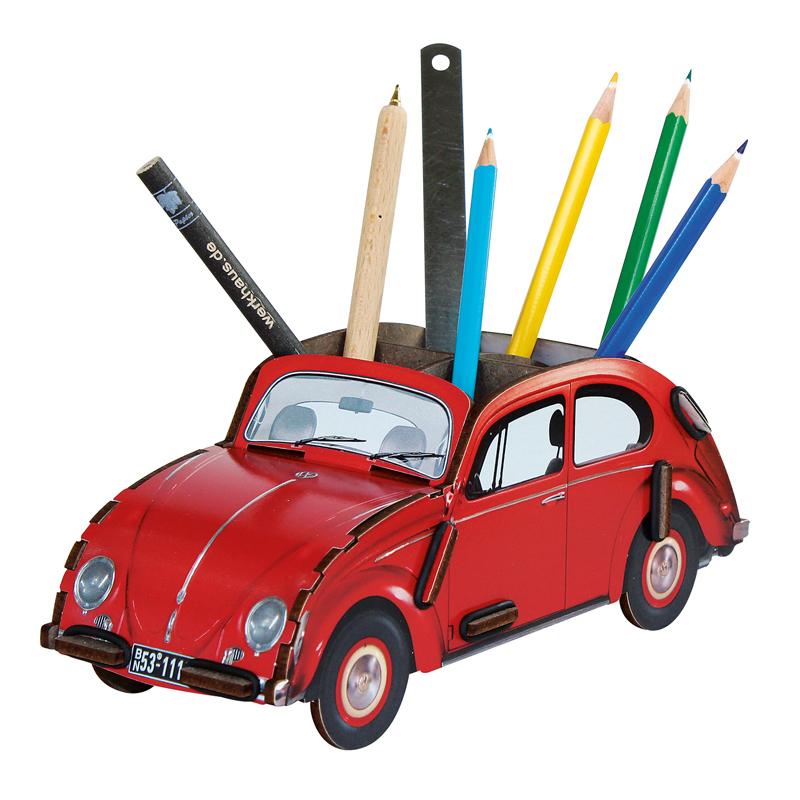 德国原产Werkhaus大众甲壳虫创意木质笔筒收纳盒整理盒 红色