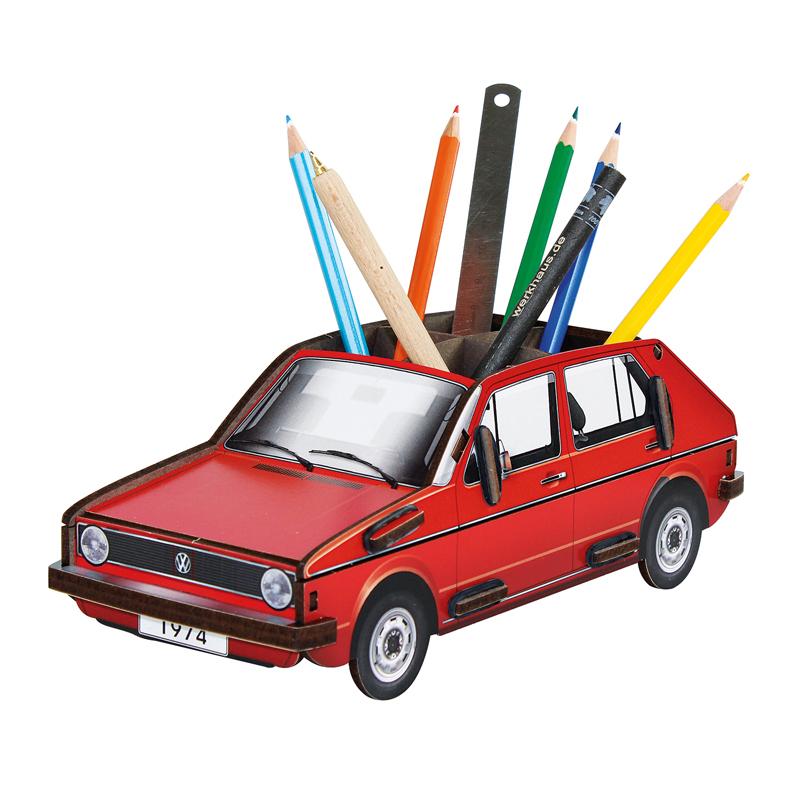 德国原产Werkhaus大众高尔夫创意木质笔筒收纳盒整理盒 红色