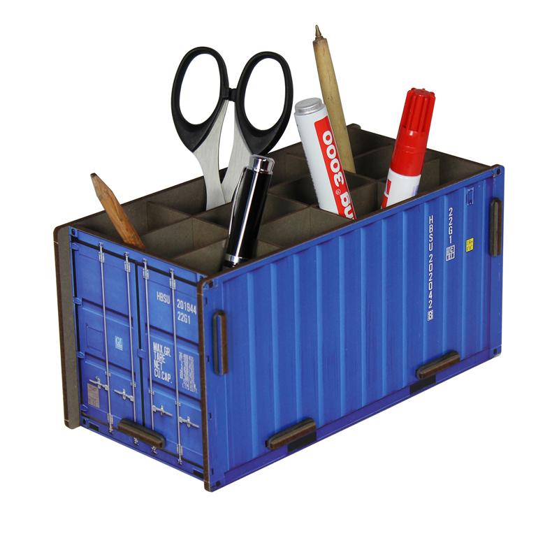 德国原产Werkhaus集装箱创意木质笔筒收纳盒整理盒 蓝色