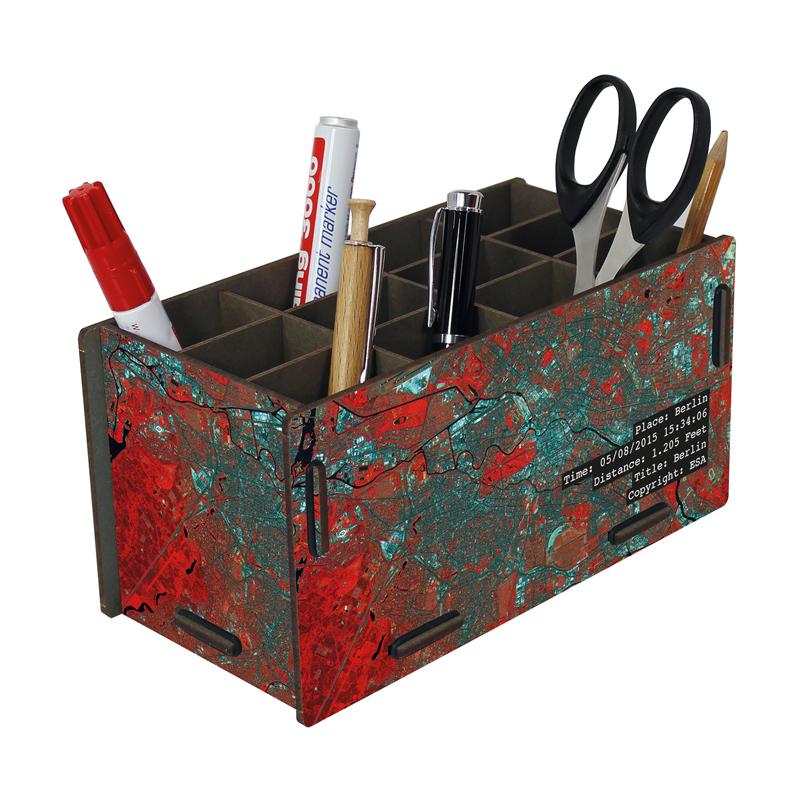 德国原产Werkhaus天文迷系列创意木质笔筒收纳盒柏林地图 红色