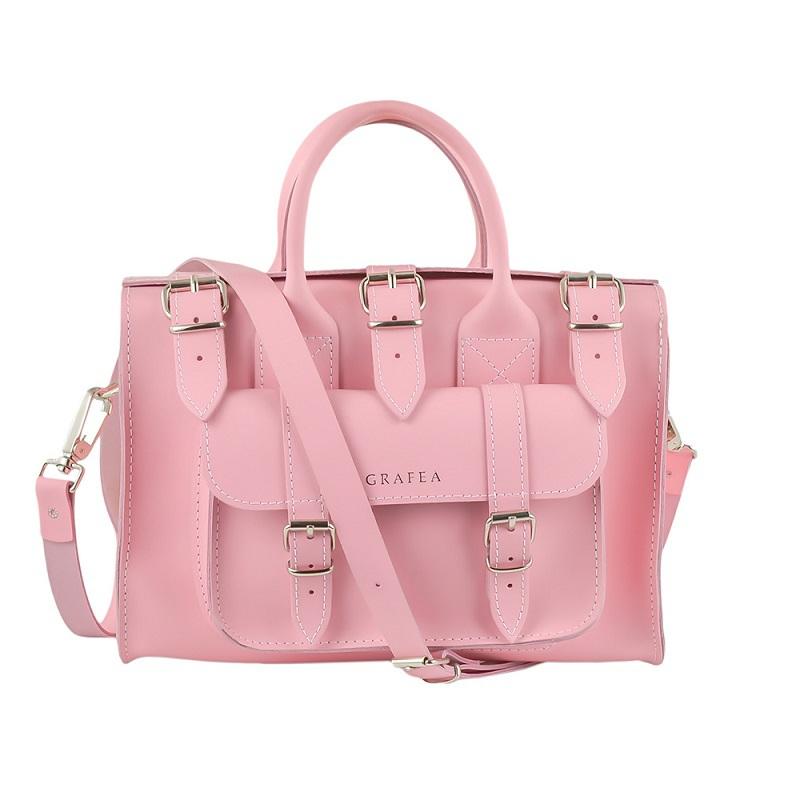英国原产GRAFEA手工牛皮简约时尚手提包单肩包斜挎包月亮女神 粉红