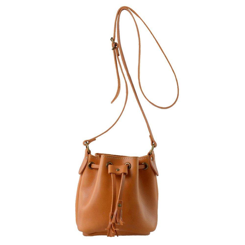 英国原产GRAFEA手工牛皮简约迷你水桶包女士单肩包女式斜挎包 棕色