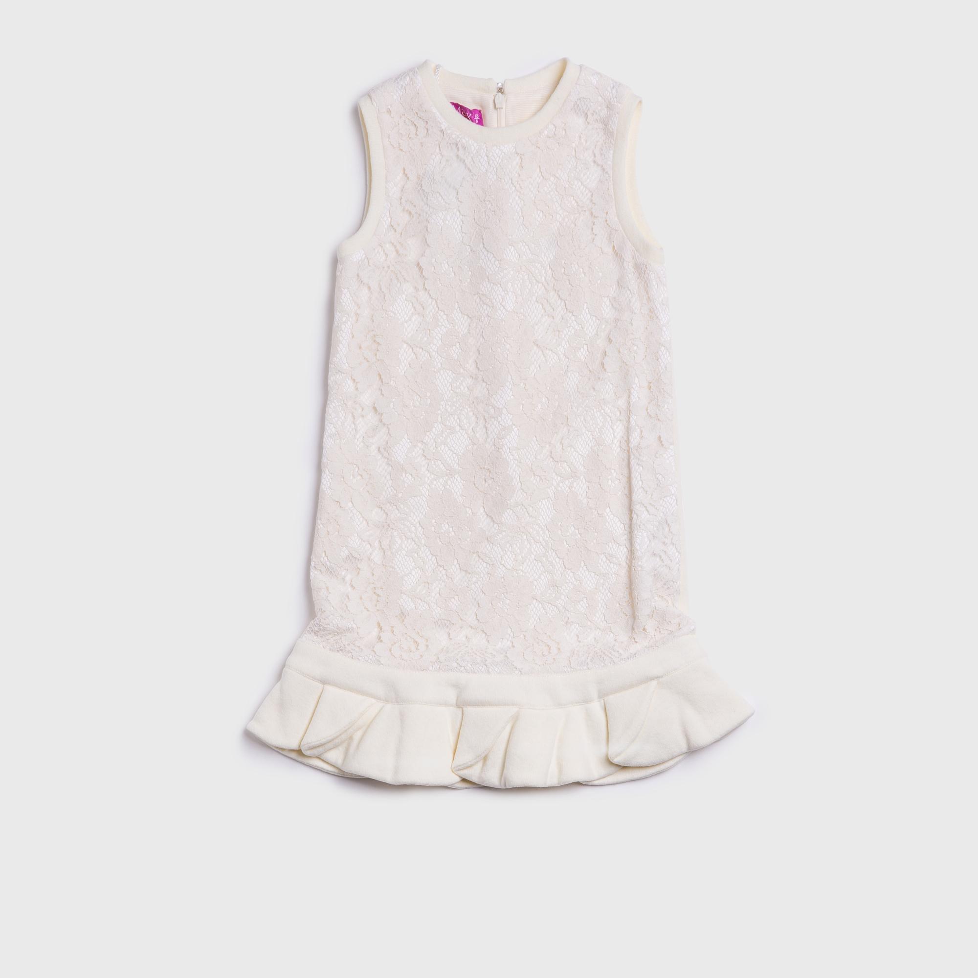 意大利原产 ValMax 雅典风格 羊毛绒绣花无袖淑女裙 乳白色 S-4岁