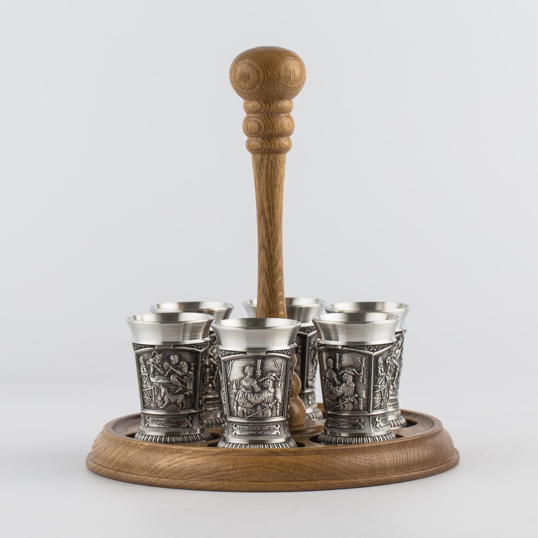 奥地利原产ARTINA锡制烈酒杯酒具托盘套装7只 银色