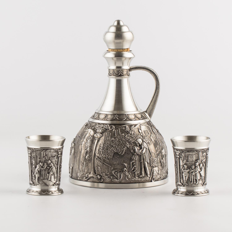 奥地利原产ARTINA-Spitzweg 锡制酒瓶酒杯酒具三件套 银色
