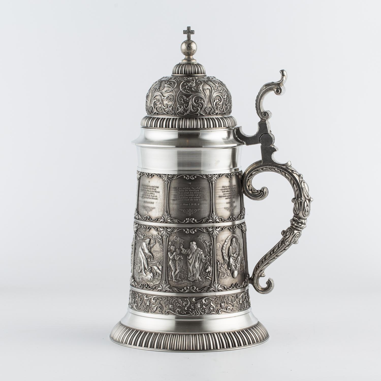 奥地利原产ARTINA-Die Schöpfung 锡制啤酒杯工艺酒杯 银色